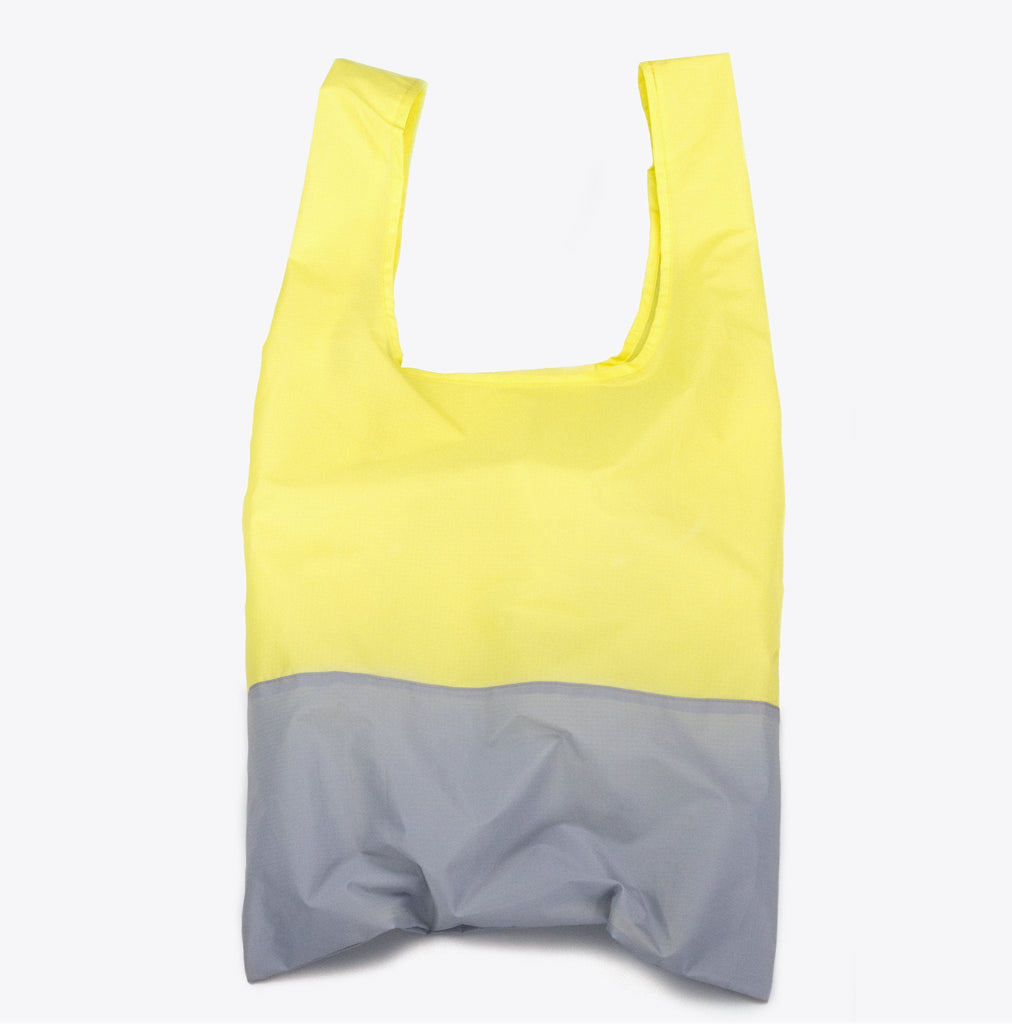 Recycled yellow and grey foldable tote bag