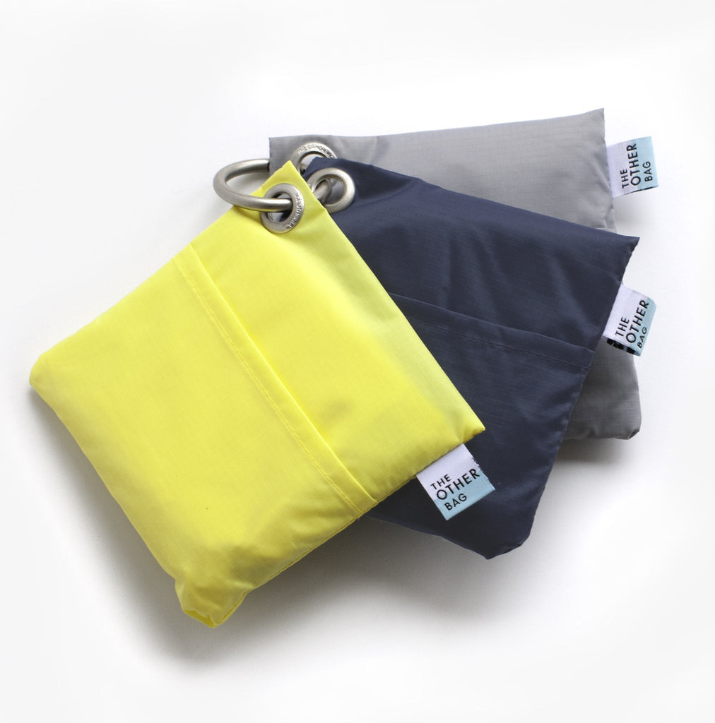 yellow grey navy foldable sustainable tote bag bundle