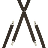 Plain Dark Brown Skinny Trouser Braces