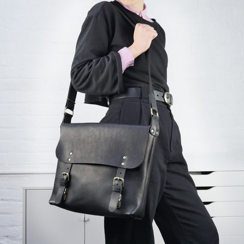 Aubrey Large Black Leather Satchel