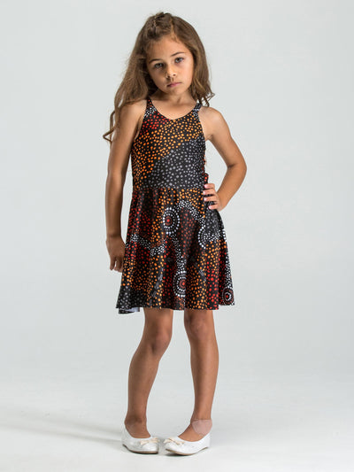 Dreamtime inspired kid's skater dress with a unique Indigenous design