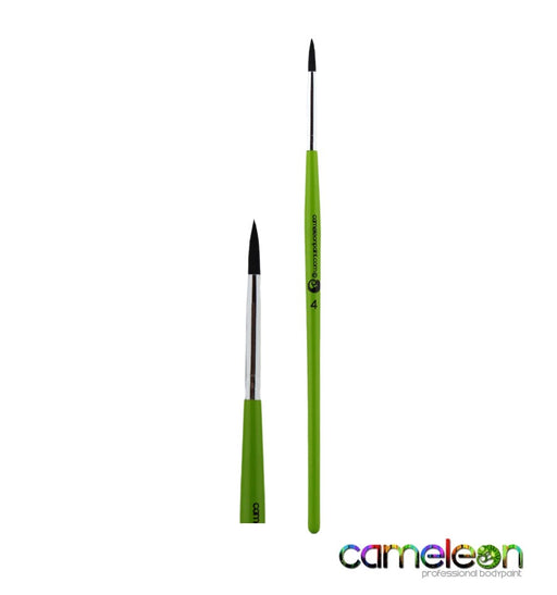 Cameleon Face Painting Brush - Liner #4 (long green handle) - Jest Paint Store