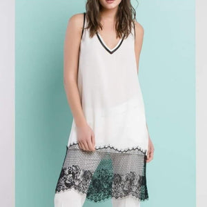 Dress slip lace mesh hem