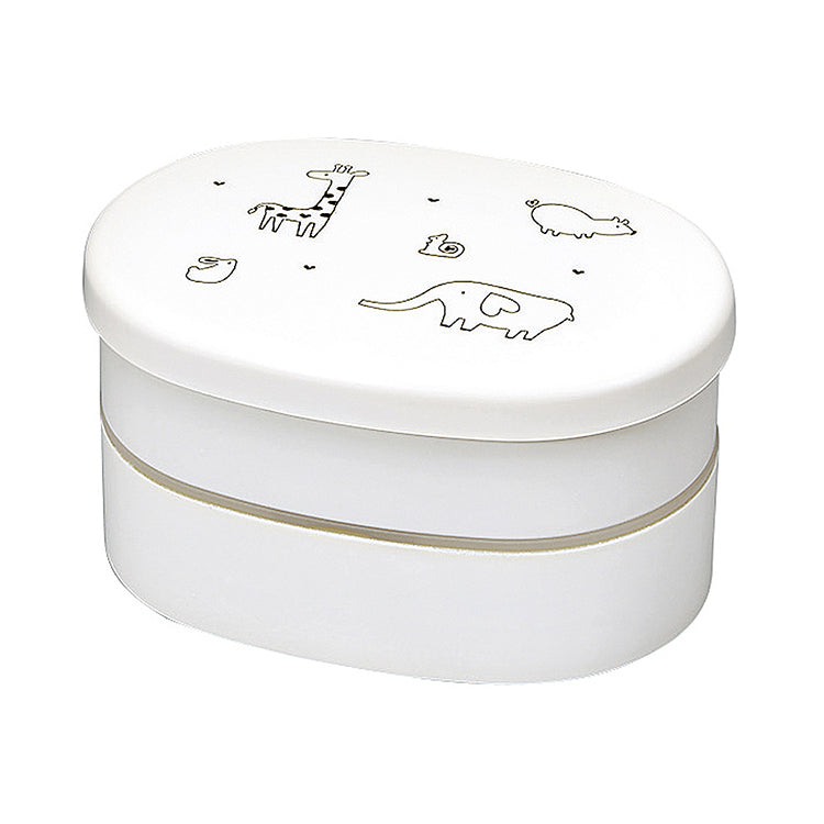 Lunch Box Animal I-Ru Etc. Oval White (Top) 210ml (Lower) 210ml