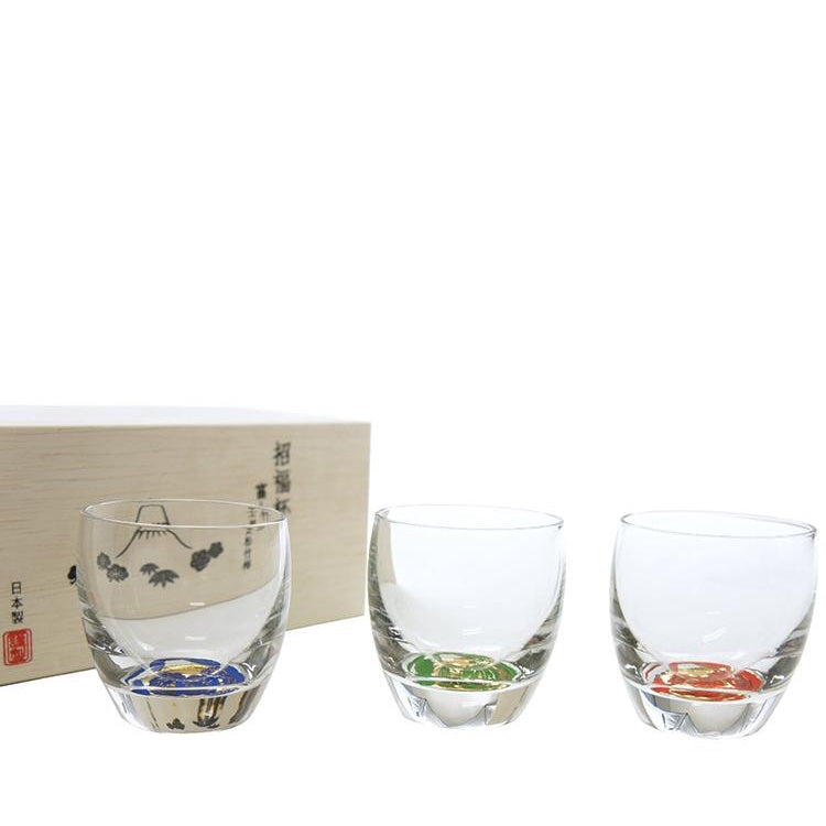 * Prosperity & Good Fortune Glasses - Mount Fuji View Design - 3-Piece Gift Pack