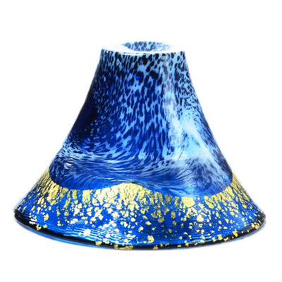 Blown-Glass Prosperity & Good Fortune Cup Glass Mount. Fuji Design Made In Japan Gold Navy Blue (Dashing White) 60ml 42385g-Shb-Wew