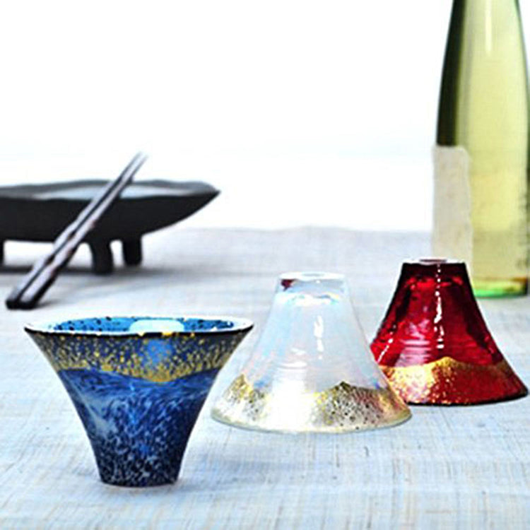 Blown-Glass Prosperity & Good Fortune Cup Glass Mount. Fuji Design  Gold Navy Blue (Dashing White) 60ml 42385g-Shb-Wew