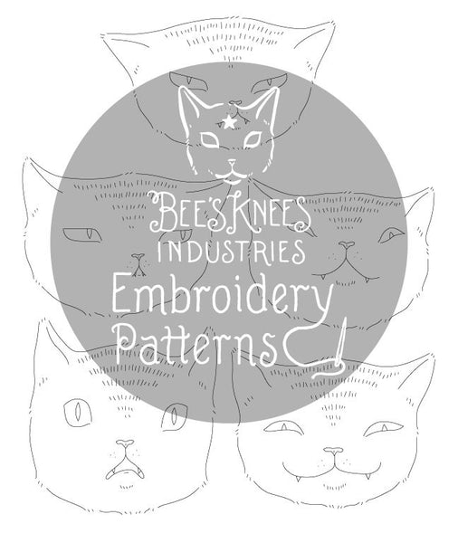 Expressive Cats Iron-On Embroidery Transfers