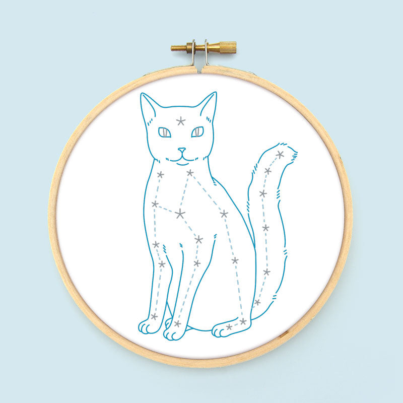 Celestial Cat Embroidery Pattern