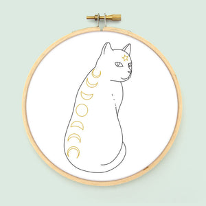 Moon Phase Cat Embroidery Pattern