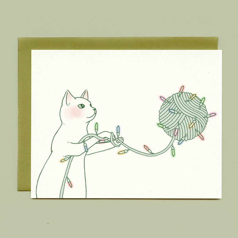 Yarn Ball Cat Holiday Card