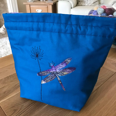 Dragonfly applique / free motion quilted bag Medium (Shawl or small sweater size)