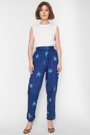 A Pair of 1980s Vintage Yves Saint Laurent Blue Cotton Trousers XS