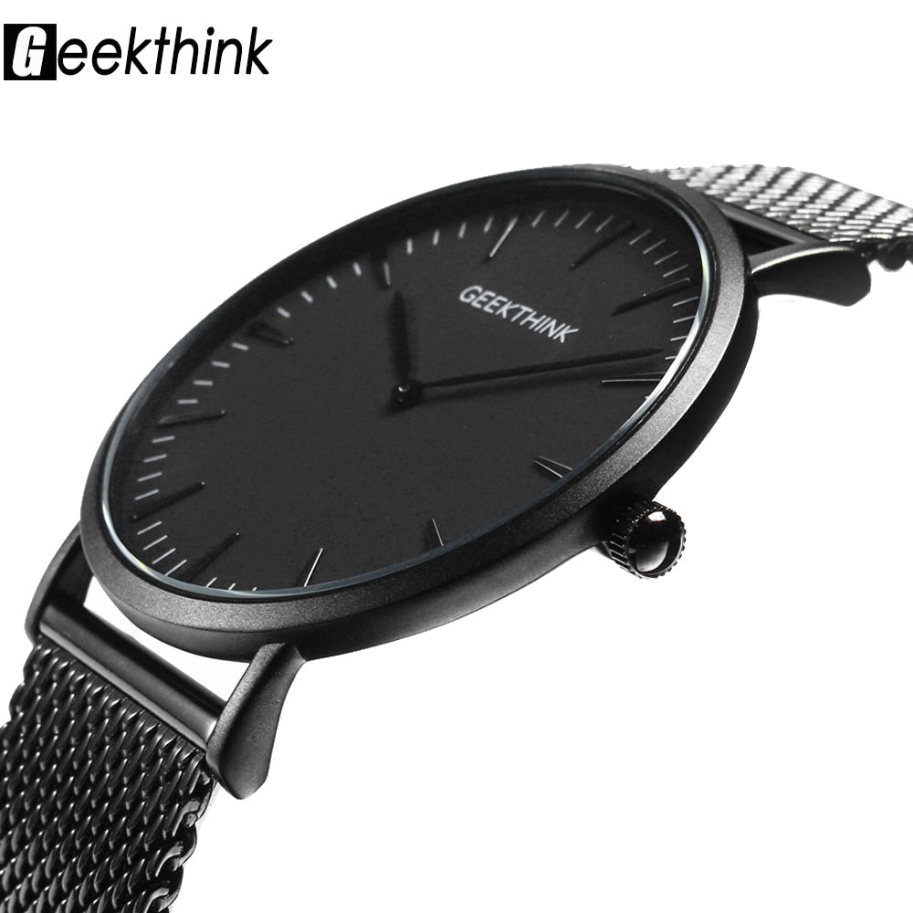 Luxury Black Japan quartz-watch stainless steel