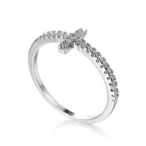 White Cross CZ Rings For Women