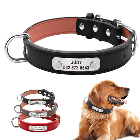 Personalized Genuine Leather Dog Collar, Custom Pet Name ID Collar For Medium Large Dogs