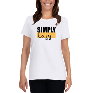 Unisex White Simply Lazy Casual T shirt