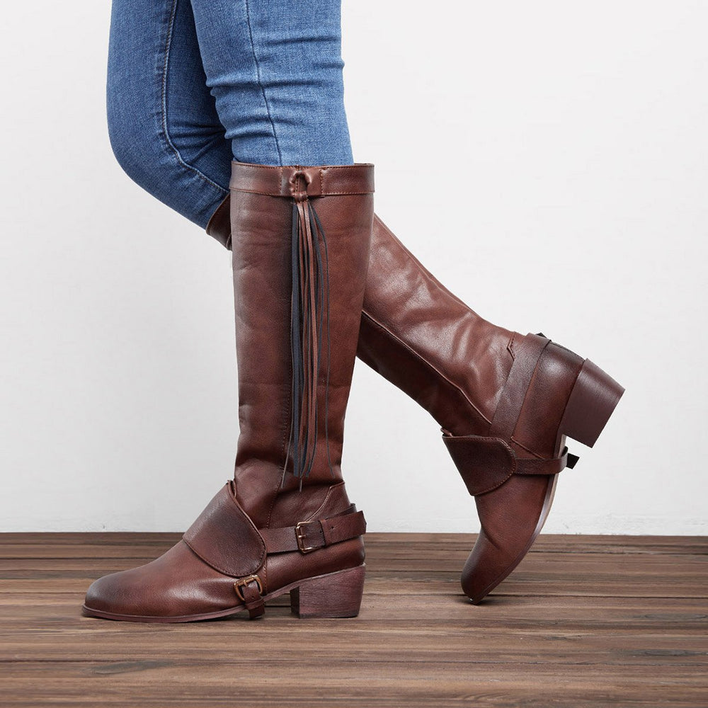 Women Vintage Tassel Artificial Leather Knot Knee High Boots