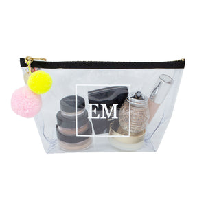 Alicia Medium Clear Make up Bag - White