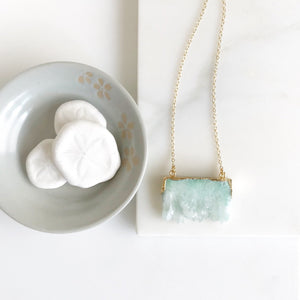 Aqua Druzy Necklace. Geode Necklace. Jewelry. Stone Necklace.