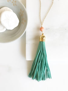 Tassel Necklace Peach and Turquoise. Leather Tassel. Long Gold Tassel Necklace. Gold Tassel Necklace. Boho Style. Strand Necklace.