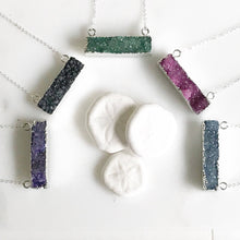 Load image into Gallery viewer, Druzy Bar Necklaces in Silver. Raw Crystal Druzy Bar Necklace. Drusy Jewelry. Bar Necklace.