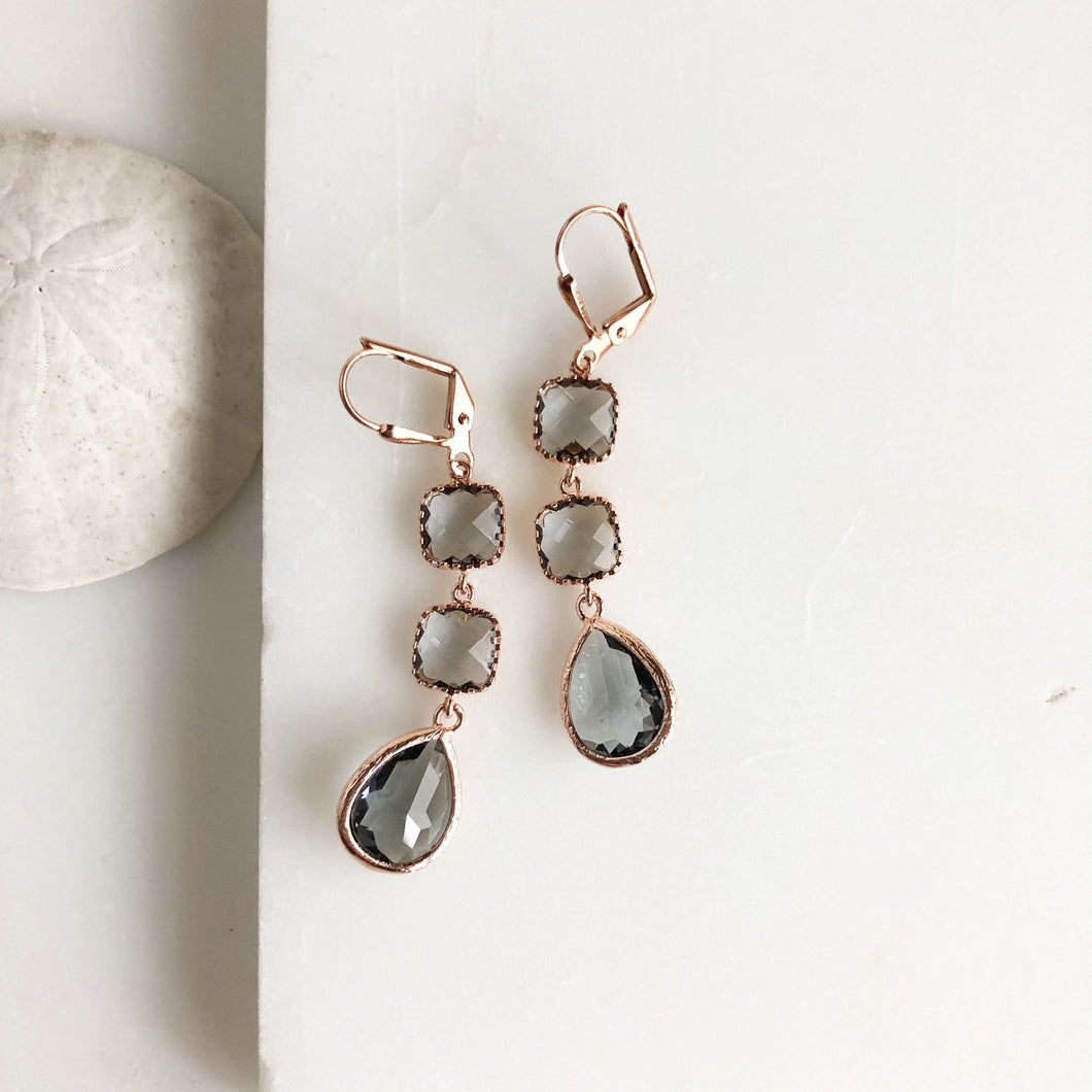 Charcoal Stone and Rose Gold Dangle Earrings