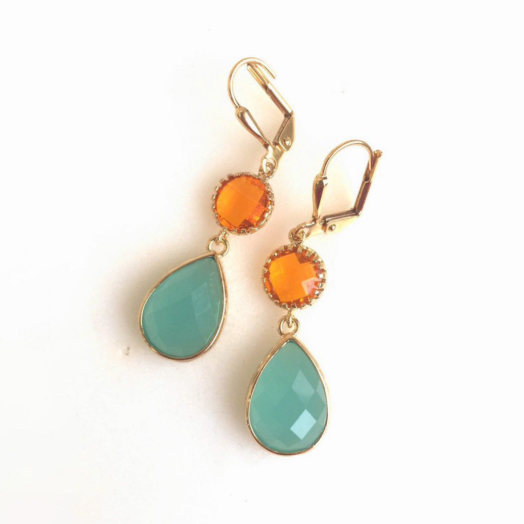 Earrings Orange and Aqua Dangle Earrings in Gold. Drop Earrings. Summer Wedding Jewelry.