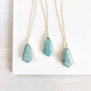 Amazonite Shield Necklace. Blue Stone Pendant Necklace. Stone Jewelry. Gift.