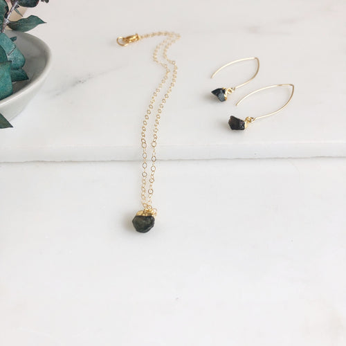 Dainty Tourmaline Set in Gold - Black Toned Tourmaline. Raw Stone Necklace and Earrings.