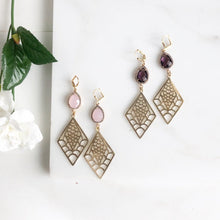 Load image into Gallery viewer, Fancy Statement Earrings. Amethyst Purple and Soft Pink. Gold Fish Scale.