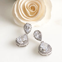 Load image into Gallery viewer, Cubic Zirconia Bridal Earrings in Silver. Drop Post Earrings.