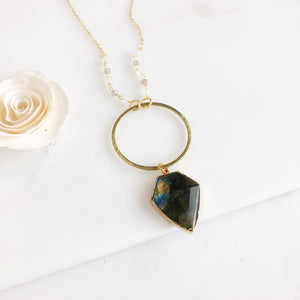 Labradorite Diamond and Ring Necklace in Gold with Accent Beading.