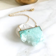 Load image into Gallery viewer, Aqua Druzy Necklace. Geode Necklace. Jewelry. Stone Necklace.