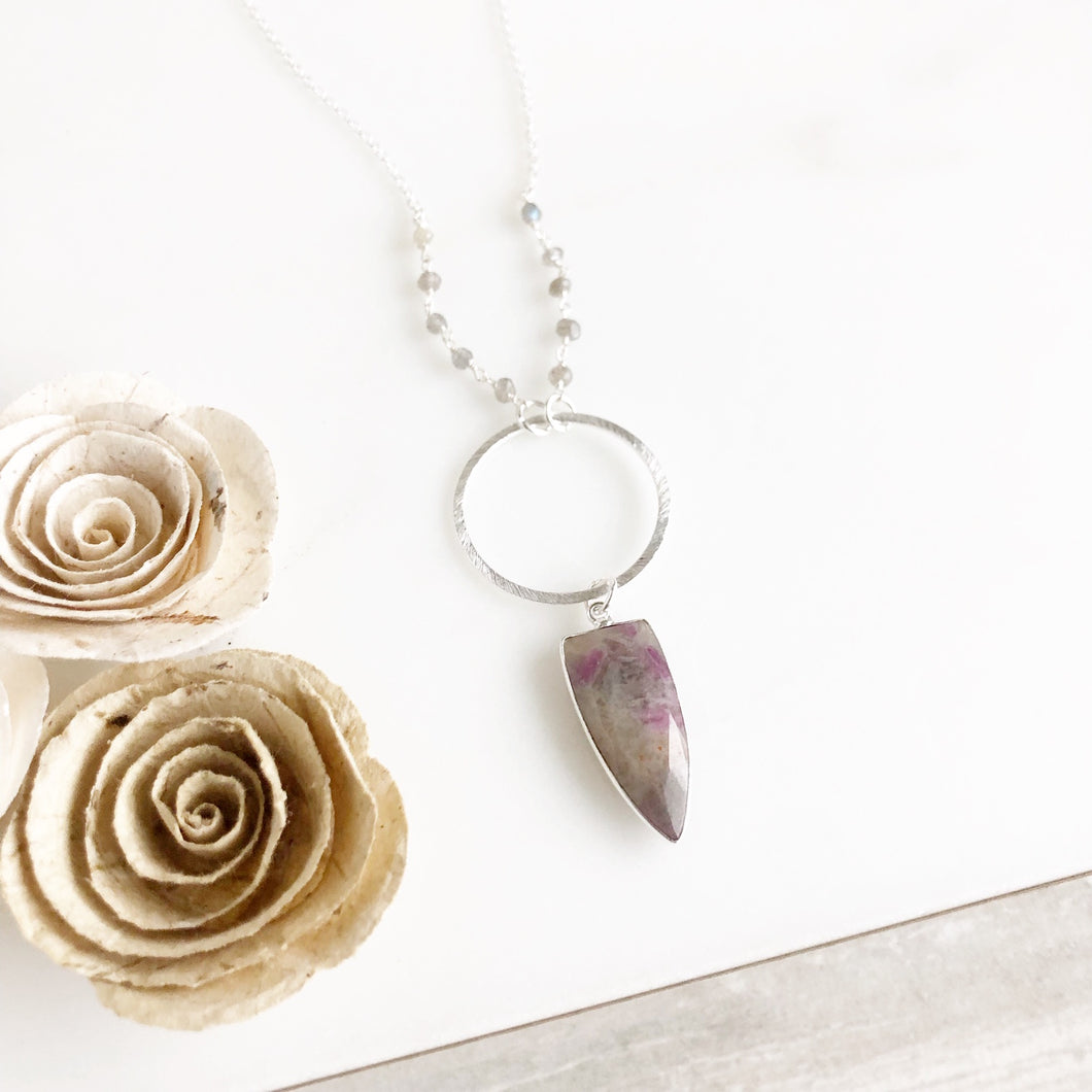 Long Grey Shield Pendant Necklace with Labradorite Beading and Purple Flash Accents in Silver.