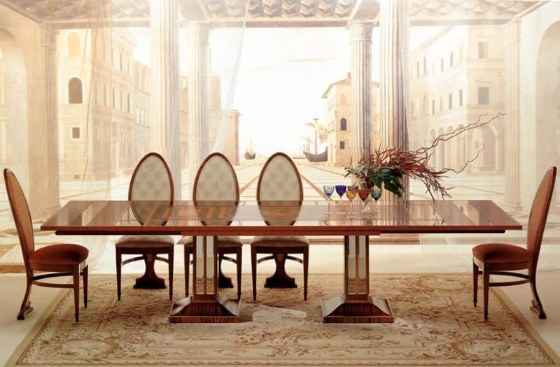 Luxury wood and  glass  expandable dining table by Carpanelli
