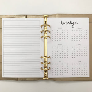 Planner Inserts - A5 Size Yearly Dated 2019