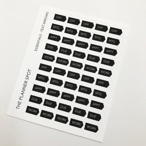 Functional Planner Stickers - Text Arrows