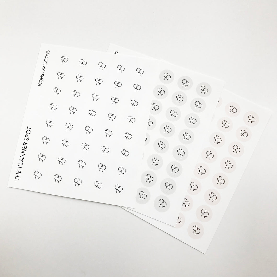 Icon Planner Stickers - Balloons