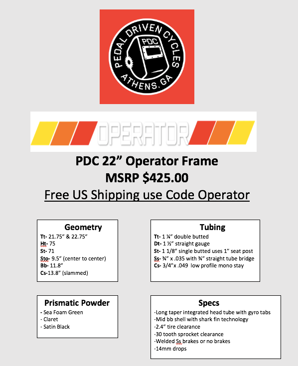 PDC Operator frame Preorder open now  – Pedal Driven Cycles