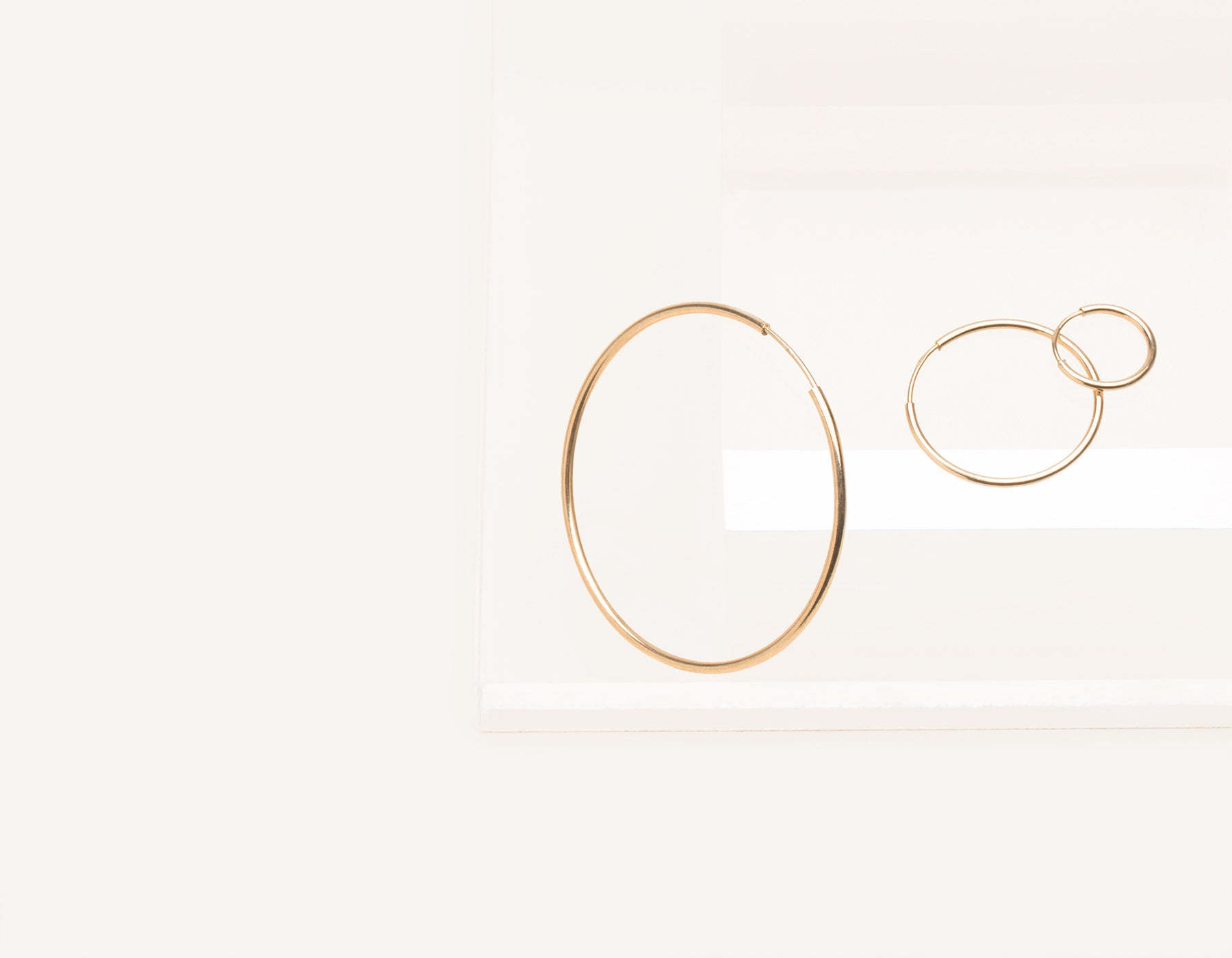 Simple classic thin Lightweight Hoops 14k solid gold Vrai and Oro minimalist jewelry, 14K Rose Gold