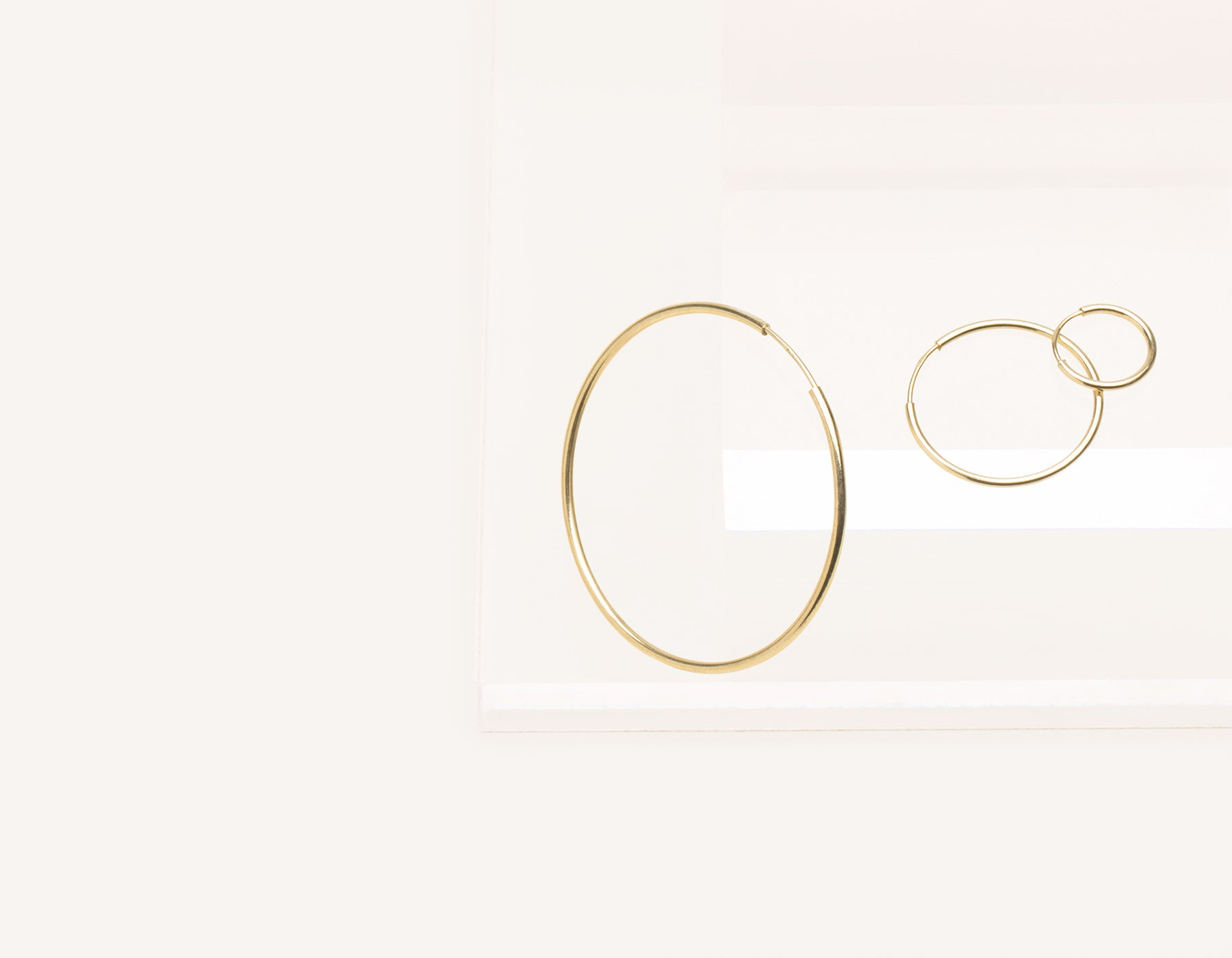 Simple classic thin Lightweight Hoops 14k solid gold Vrai and Oro minimalist jewelry, 14K Yellow Gold