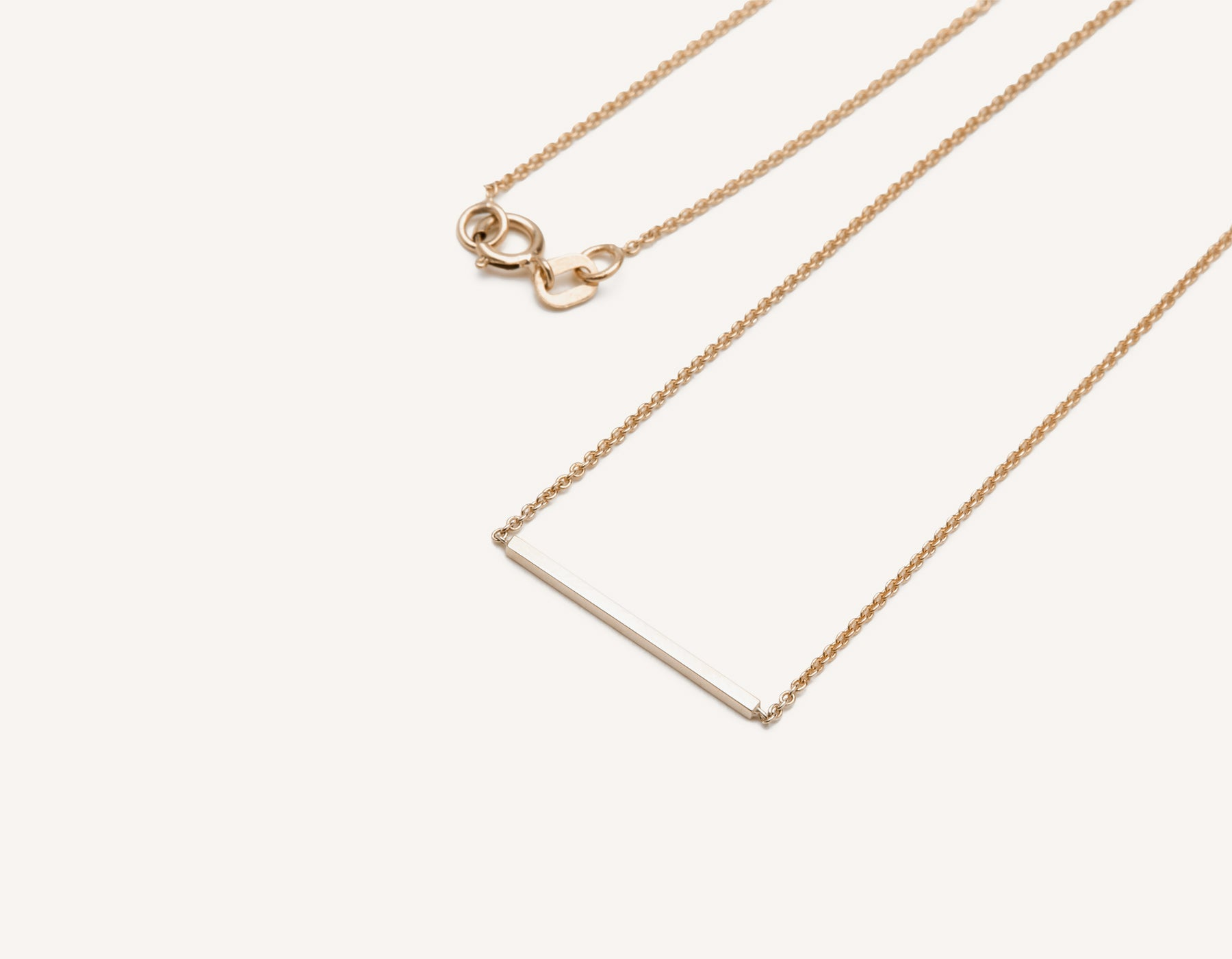 Line Necklace 14k solid gold small bar delicate chain spring ring clasp Vrai & Oro, 14K Rose Gold