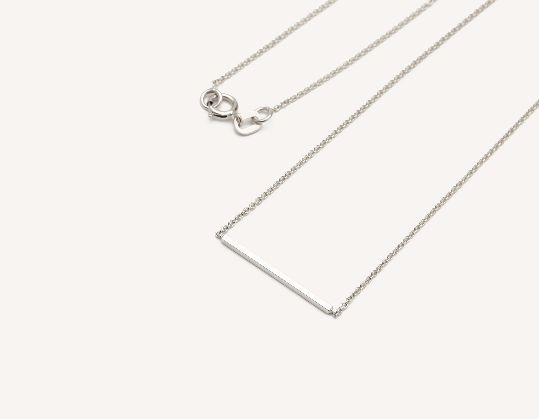 Line Necklace 14k solid gold small bar delicate chain spring ring clasp Vrai & Oro, 14K White Gold