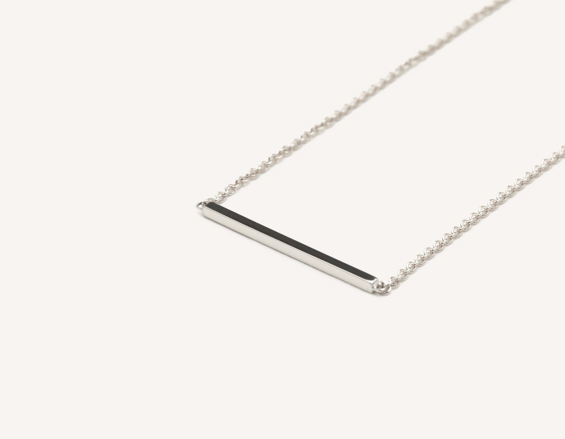 Modern minimalist 14k solid gold Line Necklace dainty chain Vrai and Oro sustainable jewelry, 14K White Gold