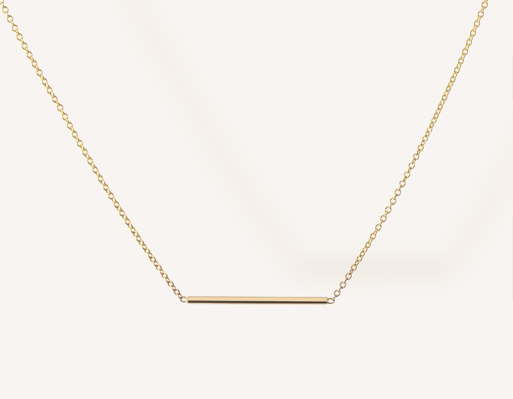 Simple classic Line Necklace 14k solid gold small rectangular bar thin chain spring ring clasp Vrai & Oro minimalist jewelry, 14K Yellow Gold