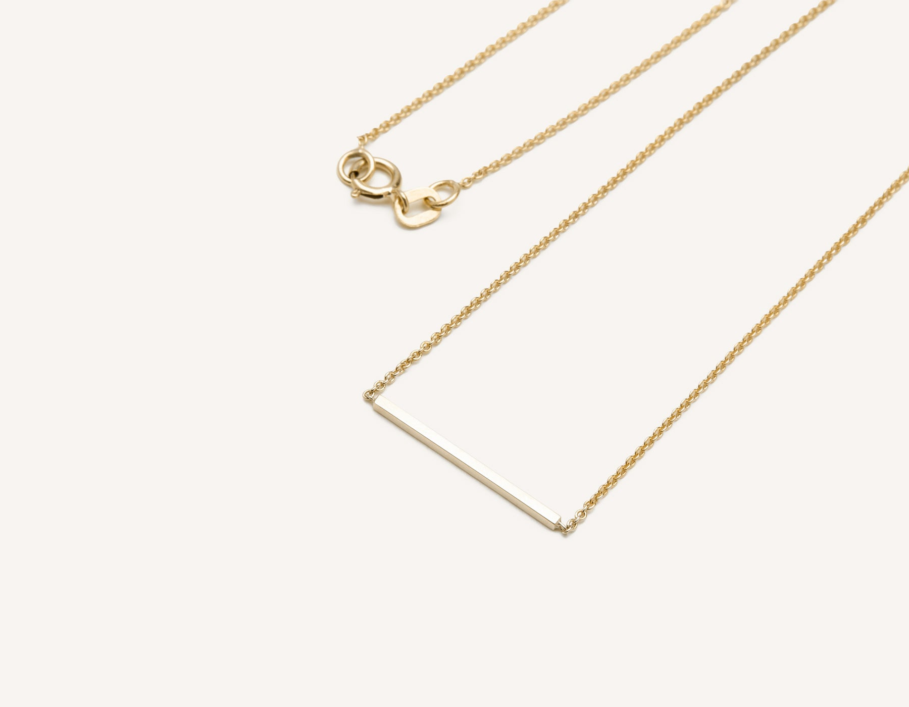 Line Necklace 14k solid gold small bar delicate chain spring ring clasp Vrai & Oro, 14K Yellow Gold