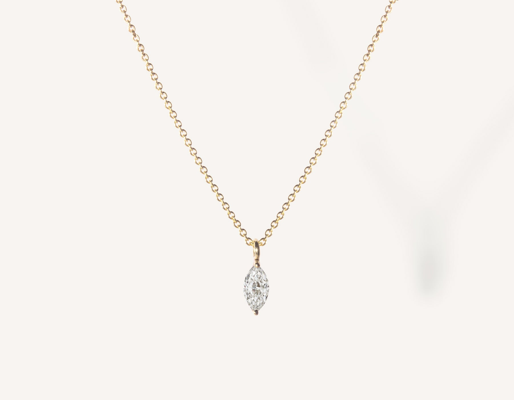 vrai & oro 14k solid gold dainty Marquise Diamond Necklace on minimalist oval link chain, 14K Yellow Gold