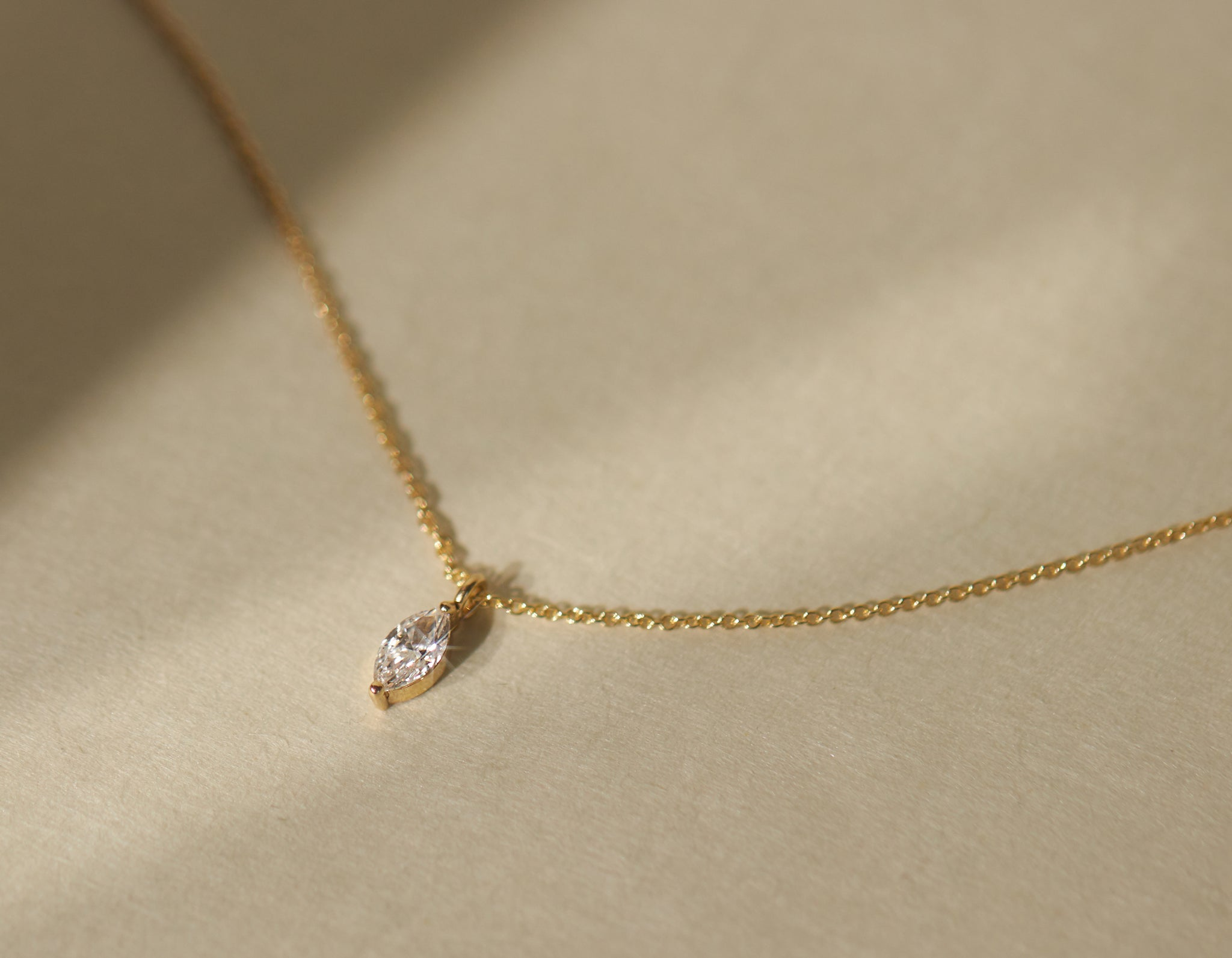 Simple classic Marquise Diamond Necklace by Vrai & Oro sustainable jewelry