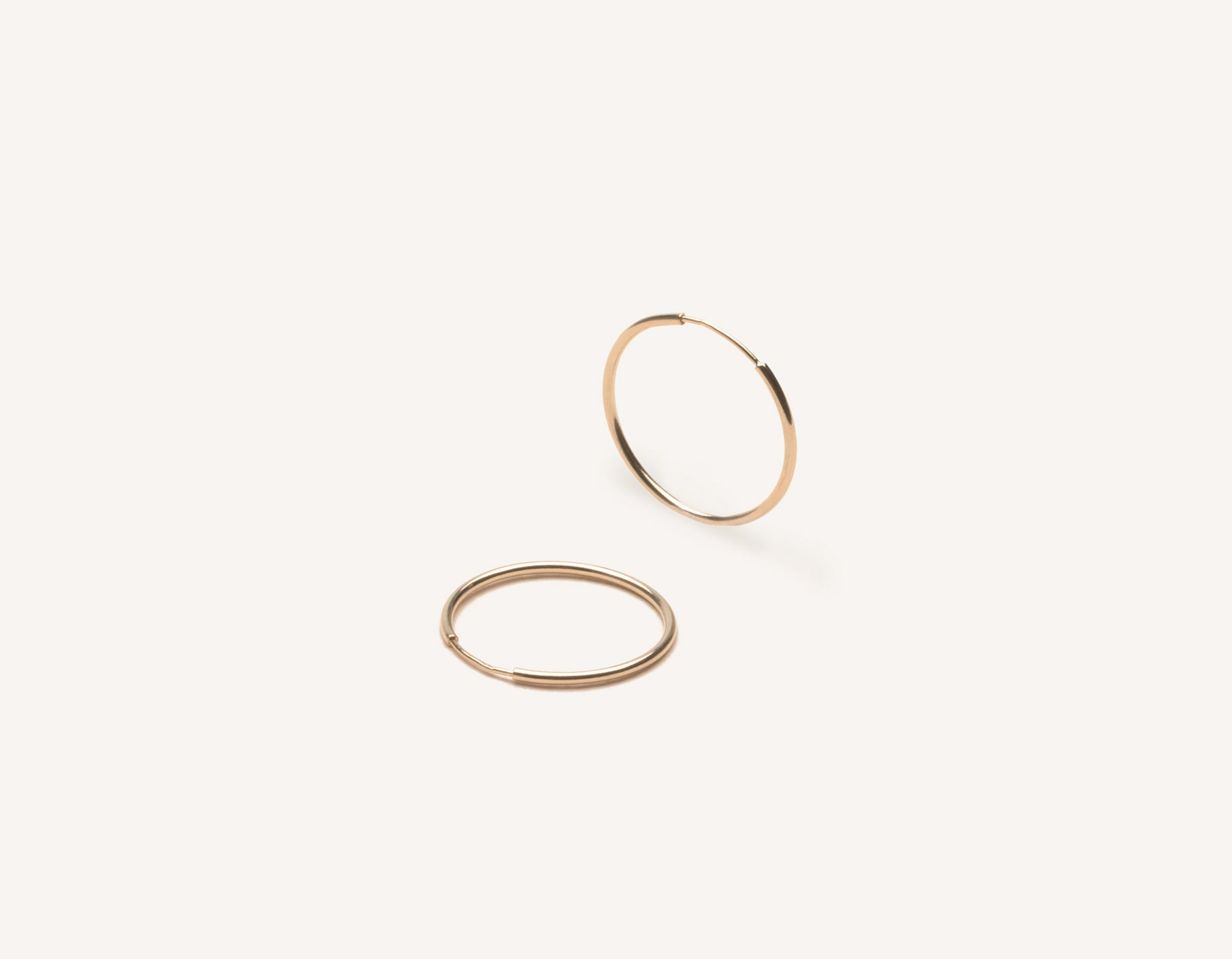Simple classic thin Medium Lightweight Hoops 14k solid gold Vrai and Oro minimalist jewelry, 14K Rose Gold